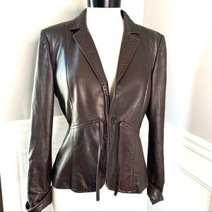 MAXMARA Brown Soft Leather Jacket 10